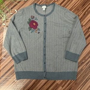 LOFT Outlet Floral Appliqué Herringbone Cardigan